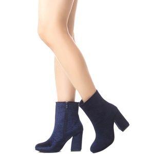 Women's Velvet Floral Embossed Chunky Heel Boots
